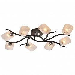 Потолочная люстра IDLampБолее 6 ламп<br>Артикул - ID_207_8PF-Black,Бренд - IDLamp (Италия),Коллекция - 207,Высота, мм - 110,Тип лампы - галогеновая,Общее кол-во ламп - 8,Напряжение питания лампы, В - 220,Максимальная мощность лампы, Вт - 40,Лампы в комплекте - галогеновые G9,Цвет плафонов и подвесок - белый с рисунком,Тип поверхности плафонов - матовый,Материал плафонов и подвесок - стекло,Цвет арматуры - хром, черный,Тип поверхности арматуры - глянцевый, матовый,Материал арматуры - металл,Возможность подлючения диммера - можно,Форма и тип колбы - пальчиковая,Тип цоколя лампы - G9,Класс электробезопасности - I,Общая мощность, Вт - 320,Степень пылевлагозащиты, IP - 20,Диапазон рабочих температур - комнатная температура,Дополнительные параметры - способ крепления светильника к потолку – на монтажной пластине<br>
