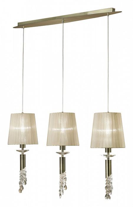 Подвесной светильник MantraСветильники<br>Артикул - MN_3875,Бренд - Mantra (Испания),Коллекция - Tiffany,Гарантия, месяцы - 24,Время изготовления, дней - 1,Длина, мм - 1000,Ширина, мм - 120,Высота, мм - 625-1500,Тип лампы - галогеновая, компактная люминесцентная [КЛЛ] ИЛИсветодиодные [LED],Количество ламп - 3, 3,Общее кол-во ламп - 6,Напряжение питания лампы, В - 220,Максимальная мощность лампы, Вт - 5, 20,Лампы в комплекте - отсутствуют,Цвет плафонов и подвесок - кремовый, неокрашенный,Тип поверхности плафонов - матовый, прозрачный,Материал плафонов и подвесок - органза, хрусталь,Цвет арматуры - бронза, неокрашенный,Тип поверхности арматуры - глянцевый, прозрачный,Материал арматуры - металл, стекло,Количество плафонов - 3,Возможность подлючения диммера - можно, если установить галогеновую лампу и лампу накаливания,Тип цоколя лампы - G9, E27,Класс электробезопасности - I,Общая мощность, Вт - 75,Степень пылевлагозащиты, IP - 20,Диапазон рабочих температур - комнатная температура<br>