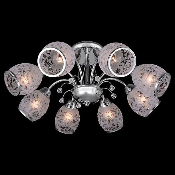 Люстра на штанге ОптимаЛюстры<br>Артикул - EV_73710,Бренд - Оптима (Китай),Коллекция - 30026,Гарантия, месяцы - 24,Высота, мм - 270,Диаметр, мм - 600,Тип лампы - компактная люминесцентная [КЛЛ] ИЛИнакаливания ИЛИсветодиодная [LED],Общее кол-во ламп - 8,Напряжение питания лампы, В - 220,Максимальная мощность лампы, Вт - 60,Лампы в комплекте - отсутствуют,Цвет плафонов и подвесок - белый с рисунком и с каймой, неокрашенный,Тип поверхности плафонов - матовый, прозрачный,Материал плафонов и подвесок - стекло, хрусталь,Цвет арматуры - хром,Тип поверхности арматуры - глянцевый,Материал арматуры - металл,Количество плафонов - 8,Возможность подлючения диммера - можно, если установить лампу накаливания,Тип цоколя лампы - E27,Класс электробезопасности - I,Общая мощность, Вт - 480,Степень пылевлагозащиты, IP - 20,Диапазон рабочих температур - комнатная температура,Дополнительные параметры - способ крепления светильника к потолку - на монтажной пластине<br>