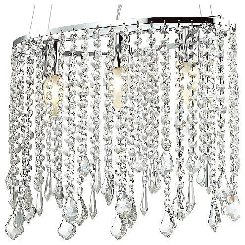 Подвесная люстра FavouriteНе более 4 ламп<br>Артикул - FV_1692-3P,Бренд - Favourite (Германия),Коллекция - Rain,Гарантия, месяцы - 24,Длина, мм - 390,Ширина, мм - 145,Высота, мм - 450-1450,Тип лампы - компактная люминесцентная [КЛЛ] ИЛИнакаливания ИЛИсветодиодная [LED],Общее кол-во ламп - 3,Напряжение питания лампы, В - 220,Максимальная мощность лампы, Вт - 40,Лампы в комплекте - отсутствуют,Цвет плафонов и подвесок - неокрашенный,Тип поверхности плафонов - прозрачный, рельефный,Материал плафонов и подвесок - хрусталь,Цвет арматуры - хром,Тип поверхности арматуры - глянцевый,Материал арматуры - металл,Возможность подлючения диммера - можно, если установить лампу накаливания,Тип цоколя лампы - E14,Класс электробезопасности - I,Общая мощность, Вт - 120,Степень пылевлагозащиты, IP - 20,Диапазон рабочих температур - комнатная температура,Дополнительные параметры - способ крепления светильника к потолку - на монтажной пластине, регулируется по высоте<br>