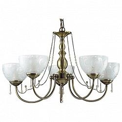 Подвесная люстра Lumion5 или 6 ламп<br>Артикул - LMN_3130_5,Бренд - Lumion (Италия),Коллекция - Levante,Гарантия, месяцы - 24,Высота, мм - 450,Диаметр, мм - 660,Размер упаковки, мм - 200x550x480,Тип лампы - компактная люминесцентная [КЛЛ] ИЛИнакаливания ИЛИсветодиодная [LED],Общее кол-во ламп - 5,Напряжение питания лампы, В - 220,Максимальная мощность лампы, Вт - 60,Лампы в комплекте - отсутствуют,Цвет плафонов и подвесок - белый с рисунком, белый,Тип поверхности плафонов - матовый,Материал плафонов и подвесок - стекло,Цвет арматуры - бронза,Тип поверхности арматуры - глянцевый, металлик,Материал арматуры - металл,Возможность подлючения диммера - можно, если установить лампу накаливания,Тип цоколя лампы - E27,Класс электробезопасности - I,Общая мощность, Вт - 300,Степень пылевлагозащиты, IP - 20,Диапазон рабочих температур - комнатная температура,Дополнительные параметры - способ крепления к потолку - на крюке, указана высота светильника без подвеса<br>