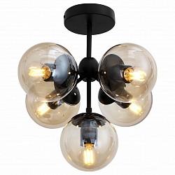 Люстра на штанге ST-Luce5 или 6 ламп<br>Артикул - SL549.402.05,Бренд - ST-Luce (Китай),Коллекция - Stampo,Гарантия, месяцы - 24,Высота, мм - 380,Диаметр, мм - 450,Тип лампы - компактная люминесцентная [КЛЛ] ИЛИнакаливания ИЛИсветодиодная [LED],Общее кол-во ламп - 5,Напряжение питания лампы, В - 220,Максимальная мощность лампы, Вт - 60,Лампы в комплекте - отсутствуют,Цвет плафонов и подвесок - дымчатый,Тип поверхности плафонов - прозрачный,Материал плафонов и подвесок - стекло,Цвет арматуры - черный,Тип поверхности арматуры - матовый,Материал арматуры - металл,Возможность подлючения диммера - можно, если установить лампу накаливания,Тип цоколя лампы - E27,Класс электробезопасности - I,Общая мощность, Вт - 300,Степень пылевлагозащиты, IP - 20,Диапазон рабочих температур - комнатная температура,Дополнительные параметры - способ крепления светильника к потолку – на монтажной пластине<br>