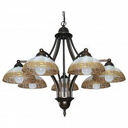 Подвесная люстра АврораБолее 6 ламп<br>Артикул - AV_10054-7L,Бренд - Аврора (Россия),Коллекция - Афина,Гарантия, месяцы - 24,Высота, мм - 540-1690,Диаметр, мм - 640,Тип лампы - компактная люминесцентная [КЛЛ] ИЛИнакаливания ИЛИсветодиодная [LED],Общее кол-во ламп - 7,Напряжение питания лампы, В - 220,Максимальная мощность лампы, Вт - 60,Лампы в комплекте - отсутствуют,Тип поверхности плафонов - матовый,Материал плафонов и подвесок - стекло,Цвет арматуры - коричневый с золотой патиной,Тип поверхности арматуры - матовый,Материал арматуры - металл,Возможность подлючения диммера - можно, если установить лампу накаливания,Тип цоколя лампы - E14,Класс электробезопасности - I,Общая мощность, Вт - 420,Степень пылевлагозащиты, IP - 20,Диапазон рабочих температур - комнатная температура,Дополнительные параметры - способ крепления светильника к потолку – на крюке, регулируется по высоте<br>