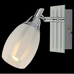 Спот EurosvetС 1 лампой<br>Артикул - EV_4764,Бренд - Eurosvet (Китай),Коллекция - 20129,Гарантия, месяцы - 24,Тип лампы - компактная люминесцентная [КЛЛ] ИЛИнакаливания ИЛИсветодиодная [LED],Общее кол-во ламп - 1,Напряжение питания лампы, В - 220,Максимальная мощность лампы, Вт - 40,Лампы в комплекте - отсутствуют,Цвет плафонов и подвесок - белый полосатый,Тип поверхности плафонов - матовый,Материал плафонов и подвесок - стекло,Цвет арматуры - белый полосатый, хром,Тип поверхности арматуры - глянцевый, матовый,Материал арматуры - металл, стекло,Тип цоколя лампы - E14,Класс электробезопасности - I,Степень пылевлагозащиты, IP - 20,Диапазон рабочих температур - комнатная температура,Дополнительные параметры - поворотный светильник<br>