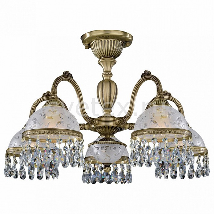 Люстра на штанге Reccagni AngeloЛюстры<br>Артикул - RA_PL_6220_5,Бренд - Reccagni Angelo (Италия),Коллекция - 6220,Гарантия, месяцы - 24,Высота, мм - 410,Диаметр, мм - 620,Тип лампы - компактная люминесцентная [КЛЛ] ИЛИнакаливания ИЛИсветодиодная [LED],Общее кол-во ламп - 5,Напряжение питания лампы, В - 220,Максимальная мощность лампы, Вт - 60,Лампы в комплекте - отсутствуют,Цвет плафонов и подвесок - неокрашенный с рисунком и каймой, неокрашенный,Тип поверхности плафонов - матовый,Материал плафонов и подвесок - стекло, хрусталь,Цвет арматуры - бронза состаренная,Тип поверхности арматуры - матовый, рельефный,Материал арматуры - латунь,Количество плафонов - 5,Возможность подлючения диммера - можно, если установить лампу накаливания,Тип цоколя лампы - E27,Класс электробезопасности - I,Общая мощность, Вт - 300,Степень пылевлагозащиты, IP - 20,Диапазон рабочих температур - комнатная температура,Дополнительные параметры - способ крепления светильника к потолку - на монтажной пластине<br>