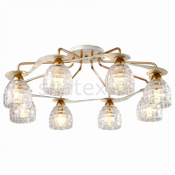 Потолочная люстра SilverLightЛюстры<br>Артикул - SL_705.51.8,Бренд - SilverLight (Франция),Коллекция - Demetra,Гарантия, месяцы - 24,Высота, мм - 280,Диаметр, мм - 710,Тип лампы - компактная люминесцентная [КЛЛ] ИЛИнакаливания ИЛИсветодиодная [LED],Общее кол-во ламп - 8,Напряжение питания лампы, В - 220,Максимальная мощность лампы, Вт - 60,Лампы в комплекте - отсутствуют,Цвет плафонов и подвесок - неокрашенный,Тип поверхности плафонов - прозрачный, рельефный,Материал плафонов и подвесок - стекло,Цвет арматуры - белый с патиной, золото,Тип поверхности арматуры - глянцевый, матовый,Материал арматуры - металл,Количество плафонов - 8,Возможность подлючения диммера - можно, если установить лампу накаливания,Тип цоколя лампы - E14,Класс электробезопасности - I,Общая мощность, Вт - 480,Степень пылевлагозащиты, IP - 20,Диапазон рабочих температур - комнатная температура,Дополнительные параметры - способ крепления светильника на потолке - на монтажной пластине<br>