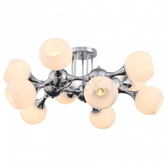 Потолочная люстра ST-LuceЛюстры<br>Артикул - SL849.102.10,Бренд - ST-Luce (Италия),Коллекция - Edificio,Гарантия, месяцы - 24,Высота, мм - 380,Диаметр, мм - 800,Тип лампы - компактная люминесцентная [КЛЛ] ИЛИнакаливания ИЛИсветодиодная [LED],Общее кол-во ламп - 10,Напряжение питания лампы, В - 220,Максимальная мощность лампы, Вт - 60,Лампы в комплекте - отсутствуют,Цвет плафонов и подвесок - белый,Тип поверхности плафонов - матовый,Материал плафонов и подвесок - стекло,Цвет арматуры - хром,Тип поверхности арматуры - глянцевый,Материал арматуры - металл,Количество плафонов - 10,Возможность подлючения диммера - можно, если установить лампу накаливания,Тип цоколя лампы - E27,Класс электробезопасности - I,Общая мощность, Вт - 600,Степень пылевлагозащиты, IP - 20,Диапазон рабочих температур - комнатная температура,Дополнительные параметры - способ крепления светильника к потолку - на монтажной пластине<br>