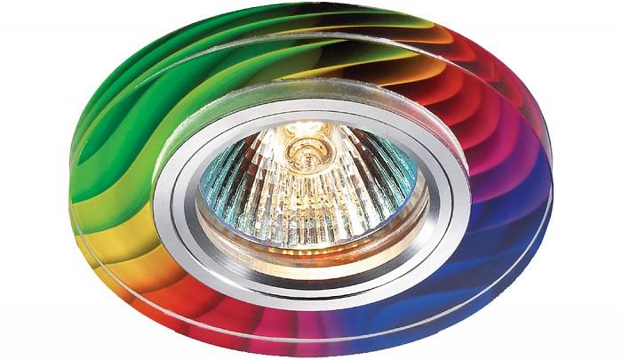 Встраиваемый светильник NovotechКруглые<br>Артикул - NV_369915,Бренд - Novotech (Венгрия),Коллекция - Rainbow,Гарантия, месяцы - 24,Время изготовления, дней - 1,Выступ, мм - 13,Глубина, мм - 12,Диаметр, мм - 90,Размер врезного отверстия, мм - 65,Тип лампы - галогеновая ИЛИсветодиодная [LED],Общее кол-во ламп - 1,Напряжение питания лампы, В - 12,Максимальная мощность лампы, Вт - 50,Цвет лампы - белый теплый,Лампы в комплекте - отсутствуют,Цвет арматуры - алюминий, цветной рисунок,Тип поверхности арматуры - глянцевый,Материал арматуры - алюминиевый сплав, стекло,Количество плафонов - 1,Возможность подлючения диммера - можно, если установить галогеновую лампу и подключить трансформатор 12 В с возможностью диммирования,Необходимые компоненты - трансформатор 12 В,Компоненты, входящие в комплект - нет,Форма и тип колбы - полусферическая с рефлектором,Тип цоколя лампы - GX5.3,Цветовая температура, K - 2800 - 3200 K,Экономичнее лампы накаливания - на 50%,Класс электробезопасности - III,Напряжение питания, В - 220,Общая мощность, Вт - 50,Степень пылевлагозащиты, IP - 20,Диапазон рабочих температур - комнатная температура,Дополнительные параметры - электрохимическая полировка арматуры<br>