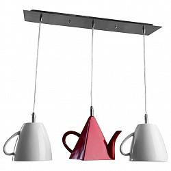 Подвесной светильник Arte LampДля кухни<br>Артикул - AR_A6605SP-3WH,Бренд - Arte Lamp (Италия),Коллекция - Cafeteria,Гарантия, месяцы - 24,Высота, мм - 210-1210,Размер упаковки, мм - 600x230x300,Тип лампы - компактная люминесцентная [КЛЛ] ИЛИнакаливания ИЛИсветодиодная [LED],Общее кол-во ламп - 3,Напряжение питания лампы, В - 220,Максимальная мощность лампы, Вт - 40,Лампы в комплекте - отсутствуют,Цвет плафонов и подвесок - белый, красный,Тип поверхности плафонов - матовый,Материал плафонов и подвесок - полимер,Цвет арматуры - хром,Тип поверхности арматуры - глянцевый,Материал арматуры - металл,Возможность подлючения диммера - можно, если установить лампу накаливания,Тип цоколя лампы - E14,Класс электробезопасности - I,Общая мощность, Вт - 120,Степень пылевлагозащиты, IP - 20,Диапазон рабочих температур - комнатная температура<br>