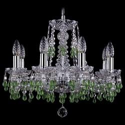 Подвесная люстра Bohemia Ivele Crystal5 или 6 ламп<br>Артикул - BI_1410_6_160_Ni_V5001,Бренд - Bohemia Ivele Crystal (Чехия),Коллекция - 1410,Гарантия, месяцы - 24,Высота, мм - 390,Диаметр, мм - 480,Размер упаковки, мм - 450x450x200,Тип лампы - компактная люминесцентная [КЛЛ] ИЛИнакаливания ИЛИсветодиодная [LED],Общее кол-во ламп - 6,Напряжение питания лампы, В - 220,Максимальная мощность лампы, Вт - 40,Лампы в комплекте - отсутствуют,Цвет плафонов и подвесок - зеленый, неокрашенный,Тип поверхности плафонов - матовый, прозрачный,Материал плафонов и подвесок - хрусталь,Цвет арматуры - неокрашенный, никель,Тип поверхности арматуры - глянцевый, прозрачный, рельефный,Материал арматуры - металл, стекло,Возможность подлючения диммера - можно, если установить лампу накаливания,Форма и тип колбы - свеча ИЛИ свеча на ветру,Тип цоколя лампы - E14,Класс электробезопасности - I,Общая мощность, Вт - 240,Степень пылевлагозащиты, IP - 20,Диапазон рабочих температур - комнатная температура,Дополнительные параметры - способ крепления светильника к потолку - на крюке, указана высота светильника без подвеса<br>