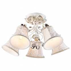 Люстра на штанге Arte LampТекстильные плафоны<br>Артикул - AR_A2819PL-5WG,Бренд - Arte Lamp (Италия),Коллекция - Bellis,Гарантия, месяцы - 24,Высота, мм - 290,Диаметр, мм - 600,Тип лампы - компактная люминесцентная [КЛЛ] ИЛИнакаливания ИЛИсветодиодная [LED],Общее кол-во ламп - 5,Напряжение питания лампы, В - 220,Максимальная мощность лампы, Вт - 60,Лампы в комплекте - отсутствуют,Цвет плафонов и подвесок - белый с рисунком, неокрашенный,Тип поверхности плафонов - матовый, прозрачный,Материал плафонов и подвесок - текстиль, хрусталь,Цвет арматуры - белый, золото,Тип поверхности арматуры - матовый,Материал арматуры - металл,Возможность подлючения диммера - можно, если установить лампу накаливания,Тип цоколя лампы - E14,Класс электробезопасности - I,Общая мощность, Вт - 300,Степень пылевлагозащиты, IP - 20,Диапазон рабочих температур - комнатная температура<br>
