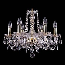 Подвесная люстра Bohemia Ivele Crystal5 или 6 ламп<br>Артикул - BI_1402_6_160,Бренд - Bohemia Ivele Crystal (Чехия),Коллекция - 1402,Гарантия, месяцы - 24,Высота, мм - 410,Диаметр, мм - 490,Размер упаковки, мм - 450x450x200,Тип лампы - компактная люминесцентная [КЛЛ] ИЛИнакаливания ИЛИсветодиодная [LED],Общее кол-во ламп - 6,Напряжение питания лампы, В - 220,Максимальная мощность лампы, Вт - 40,Лампы в комплекте - отсутствуют,Цвет плафонов и подвесок - неокрашенный,Тип поверхности плафонов - прозрачный,Материал плафонов и подвесок - хрусталь,Цвет арматуры - золото, неокрашенный,Тип поверхности арматуры - глянцевый, прозрачный,Материал арматуры - металл, стекло,Возможность подлючения диммера - можно, если установить лампу накаливания,Форма и тип колбы - свеча,Тип цоколя лампы - E14,Класс электробезопасности - I,Общая мощность, Вт - 240,Степень пылевлагозащиты, IP - 20,Диапазон рабочих температур - комнатная температура,Дополнительные параметры - способ крепления светильника к потолку – на крюке<br>