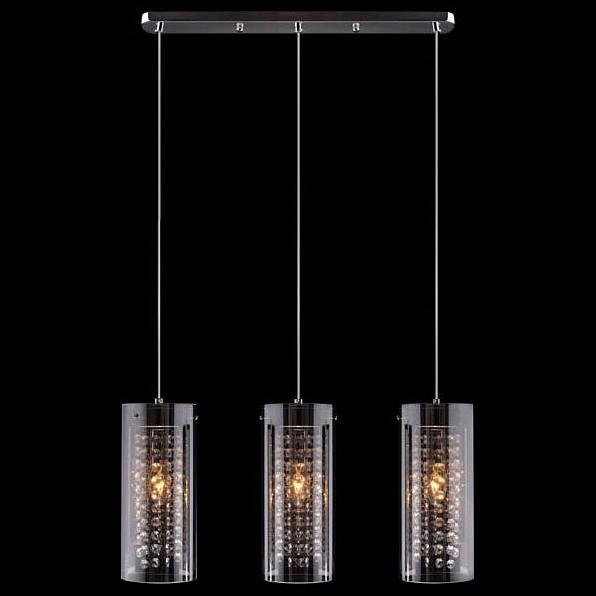 Подвесной светильник EurosvetСветодиодные<br>Артикул - EV_55452,Бренд - Eurosvet (Китай),Коллекция - 1636,Гарантия, месяцы - 24,Длина, мм - 550,Ширина, мм - 120,Высота, мм - 1050,Тип лампы - компактная люминесцентная [КЛЛ] ИЛИнакаливания ИЛИсветодиодная [LED],Общее кол-во ламп - 3,Напряжение питания лампы, В - 220,Максимальная мощность лампы, Вт - 60,Лампы в комплекте - отсутствуют,Цвет плафонов и подвесок - неокрашенный, тонированный,Тип поверхности плафонов - прозрачный,Материал плафонов и подвесок - стекло, хрусталь,Цвет арматуры - хром,Тип поверхности арматуры - глянцевый,Материал арматуры - металл,Количество плафонов - 3,Возможность подлючения диммера - можно, если установить лампу накаливания,Тип цоколя лампы - E14,Класс электробезопасности - I,Общая мощность, Вт - 180,Степень пылевлагозащиты, IP - 20,Диапазон рабочих температур - комнатная температура,Дополнительные параметры - способ крепления светильника к потолку - на монтажной пластине, регулируется по высоте<br>