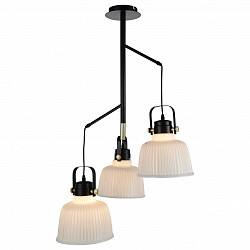 Подвесная люстра ST-LuceНе более 4 ламп<br>Артикул - SL714.443.03,Бренд - ST-Luce (Китай),Коллекция - SL714,Гарантия, месяцы - 24,Время изготовления, дней - 1,Высота, мм - 950,Диаметр, мм - 230,Размер упаковки, мм - 670х620х320,Тип лампы - компактная люминесцентная [КЛЛ] ИЛИнакаливания ИЛИсветодиодная [LED],Общее кол-во ламп - 3,Напряжение питания лампы, В - 220,Максимальная мощность лампы, Вт - 60,Лампы в комплекте - отсутствуют,Цвет плафонов и подвесок - белый,Тип поверхности плафонов - матовый, рельефный,Материал плафонов и подвесок - стекло,Цвет арматуры - золото, черный,Тип поверхности арматуры - глянцевый,Материал арматуры - металл,Возможность подлючения диммера - можно, если установить лампу накаливания,Тип цоколя лампы - E27,Класс электробезопасности - I,Общая мощность, Вт - 180,Степень пылевлагозащиты, IP - 20,Диапазон рабочих температур - комнатная температура,Дополнительные параметры - регулируется по высоте, способ крепления светильника к потолку – на монтажной пластине<br>