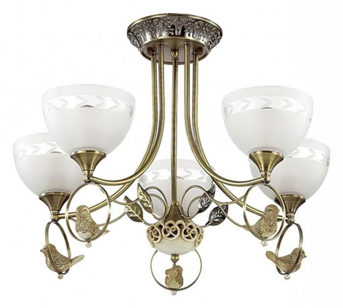 Потолочная люстра LumionЛюстры<br>Артикул - LMN_3403_5C,Бренд - Lumion (Италия),Коллекция - Horas,Гарантия, месяцы - 24,Высота, мм - 420,Диаметр, мм - 590,Размер упаковки, мм - 230x495x330,Тип лампы - компактная люминесцентная [КЛЛ] ИЛИнакаливания ИЛИсветодиодная [LED],Общее кол-во ламп - 5,Напряжение питания лампы, В - 220,Максимальная мощность лампы, Вт - 40,Лампы в комплекте - отсутствуют,Цвет плафонов и подвесок - белый с прозрачным рисунком,Тип поверхности плафонов - матовый,Материал плафонов и подвесок - стекло,Цвет арматуры - бронза,Тип поверхности арматуры - матовый,Материал арматуры - металл,Количество плафонов - 5,Возможность подлючения диммера - можно, если установить лампу накаливания,Тип цоколя лампы - E14,Класс электробезопасности - I,Общая мощность, Вт - 200,Степень пылевлагозащиты, IP - 20,Диапазон рабочих температур - комнатная температура,Дополнительные параметры - способ крепления светильника к потолку - на монтажной пластине<br>