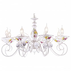 Подвесная люстра Arte LampПолимерные плафоны<br>Артикул - AR_A2061LM-8WG,Бренд - Arte Lamp (Италия),Коллекция - Fiorato,Высота, мм - 460-960,Диаметр, мм - 790,Тип лампы - компактная люминесцентная [КЛЛ] ИЛИнакаливания ИЛИсветодиодная [LED],Общее кол-во ламп - 8,Напряжение питания лампы, В - 220,Максимальная мощность лампы, Вт - 60,Лампы в комплекте - отсутствуют,Цвет плафонов и подвесок - белый с цветным рисунком,Тип поверхности плафонов - матовый,Материал плафонов и подвесок - керамика,Цвет арматуры - белый, белый с цветным рисунком, золото,Тип поверхности арматуры - глянцевый,Материал арматуры - керамика, металл,Возможность подлючения диммера - можно, если установить лампу накаливания,Форма и тип колбы - свеча ИЛИ свеча на ветру,Тип цоколя лампы - E14,Класс электробезопасности - I,Общая мощность, Вт - 480,Степень пылевлагозащиты, IP - 20,Диапазон рабочих температур - комнатная температура,Дополнительные параметры - способ крепления светильника к потолку – на монтажной пластине или крюке<br>