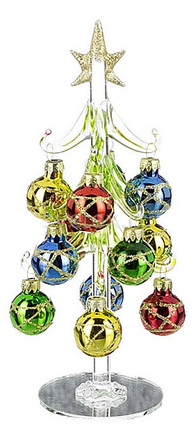 Ель новогодняя с елочными шарами АРТИ-МЕли новогодние<br>Артикул - art_594-035,Бренд - АРТИ-М (Россия),Коллекция - ART 594,Высота, мм - 200,Цвет - желтый, зеленый, красный, синий,Материал - стекло,Компоненты, входящие в комплект - ель новогодняя;12 елочных шаров<br>