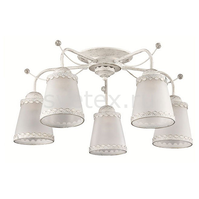 Потолочная люстра LumionЛюстры<br>Артикул - LMN_3267_5C,Бренд - Lumion (Италия),Коллекция - Abbi,Гарантия, месяцы - 24,Высота, мм - 260,Диаметр, мм - 610,Размер упаковки, мм - 340x510x190,Тип лампы - компактная люминесцентная [КЛЛ] ИЛИнакаливания ИЛИсветодиодная [LED],Общее кол-во ламп - 5,Напряжение питания лампы, В - 220,Максимальная мощность лампы, Вт - 60,Лампы в комплекте - отсутствуют,Цвет плафонов и подвесок - белый с каймой,Тип поверхности плафонов - матовый,Материал плафонов и подвесок - металл, стекло,Цвет арматуры - белый с золотой патиной,Тип поверхности арматуры - матовый,Материал арматуры - металл,Количество плафонов - 5,Возможность подлючения диммера - можно, если установить лампу накаливания,Тип цоколя лампы - E27,Класс электробезопасности - I,Общая мощность, Вт - 300,Степень пылевлагозащиты, IP - 20,Диапазон рабочих температур - комнатная температура,Дополнительные параметры - способ крепления к потолку - на монтажной пластине<br>