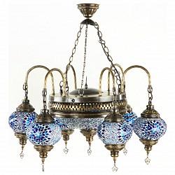 Подвесная люстра Kink LightБолее 6 ламп<br>Артикул - KL_0212-6.05,Бренд - Kink Light (Китай),Коллекция - Марокко,Гарантия, месяцы - 12,Высота, мм - 800,Диаметр, мм - 600,Тип лампы - компактная люминесцентная [КЛЛ] ИЛИнакаливания ИЛИсветодиодная [LED],Общее кол-во ламп - 7,Напряжение питания лампы, В - 220,Максимальная мощность лампы, Вт - 40,Лампы в комплекте - отсутствуют,Цвет плафонов и подвесок - голубой с рисунокм,Тип поверхности плафонов - глянцевый, рельефный,Материал плафонов и подвесок - стекло,Цвет арматуры - бронза,Тип поверхности арматуры - глянцевый,Материал арматуры - металл,Возможность подлючения диммера - можно, если установить лампу накаливания,Тип цоколя лампы - E14,Класс электробезопасности - I,Общая мощность, Вт - 280,Степень пылевлагозащиты, IP - 20,Диапазон рабочих температур - комнатная температура,Дополнительные параметры - техника мозаика<br>