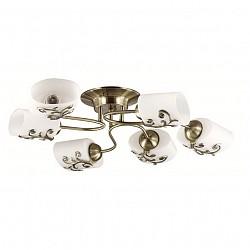 Потолочная люстра Lumion5 или 6 ламп<br>Артикул - LMN_3140_6CA,Бренд - Lumion (Италия),Коллекция - Susanna,Гарантия, месяцы - 24,Высота, мм - 165,Диаметр, мм - 680,Размер упаковки, мм - 250x420x350,Тип лампы - компактная люминесцентная [КЛЛ] ИЛИнакаливания ИЛИсветодиодная [LED],Общее кол-во ламп - 6,Напряжение питания лампы, В - 220,Максимальная мощность лампы, Вт - 40,Лампы в комплекте - отсутствуют,Цвет плафонов и подвесок - белый с бронзовым рисунком,Тип поверхности плафонов - матовый,Материал плафонов и подвесок - металл, стекло,Цвет арматуры - бронза,Тип поверхности арматуры - матовый, металлик,Материал арматуры - металл,Возможность подлючения диммера - можно, если установить лампу накаливания,Тип цоколя лампы - E27,Класс электробезопасности - I,Общая мощность, Вт - 240,Степень пылевлагозащиты, IP - 20,Диапазон рабочих температур - комнатная температура,Дополнительные параметры - способ крепления к потолку - на монтажной пластине<br>