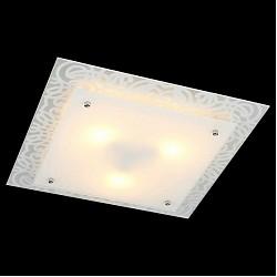 Накладной светильник EurosvetКвадратные<br>Артикул - EV_76391,Бренд - Eurosvet (Китай),Коллекция - Каролина,Гарантия, месяцы - 24,Высота, мм - 110,Тип лампы - компактная люминесцентная [КЛЛ] ИЛИнакаливания ИЛИсветодиодная [LED],Общее кол-во ламп - 3,Напряжение питания лампы, В - 220,Максимальная мощность лампы, Вт - 60,Лампы в комплекте - отсутствуют,Цвет плафонов и подвесок - белый,Тип поверхности плафонов - матовый,Материал плафонов и подвесок - стекло,Цвет арматуры - белый с рисунком, хром,Тип поверхности арматуры - глянцевый, матовый,Материал арматуры - металл,Возможность подлючения диммера - можно, если установить лампу накаливания,Тип цоколя лампы - E27,Класс электробезопасности - I,Общая мощность, Вт - 180,Степень пылевлагозащиты, IP - 20,Диапазон рабочих температур - комнатная температура,Дополнительные параметры - способ крепления светильника к потолку - на монтажной пластине<br>