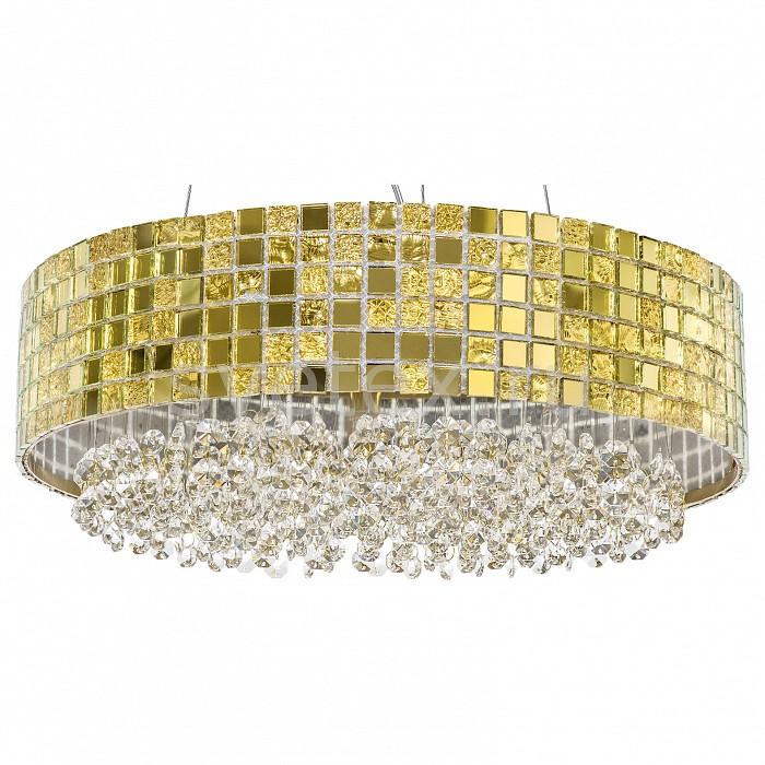 Подвесной светильник LightstarСветильники<br>Артикул - LS_743162,Бренд - Lightstar (Италия),Коллекция - Bezazz,Гарантия, месяцы - 24,Высота, мм - 250-900,Диаметр, мм - 410,Тип лампы - галогеновая,Общее кол-во ламп - 6,Напряжение питания лампы, В - 220,Максимальная мощность лампы, Вт - 40,Лампы в комплекте - галогеновые G9,Цвет плафонов и подвесок - золото, неокрашенный,Тип поверхности плафонов - глянцевый, прозрачный,Материал плафонов и подвесок - металл, хрусталь,Цвет арматуры - золото,Тип поверхности арматуры - глянцевый,Материал арматуры - металл,Количество плафонов - 1,Возможность подлючения диммера - можно,Форма и тип колбы - пальчиковая,Тип цоколя лампы - G9,Класс электробезопасности - I,Общая мощность, Вт - 240,Степень пылевлагозащиты, IP - 20,Диапазон рабочих температур - комнатная температура,Дополнительные параметры - способ крепления светильника к потолку - на монтажной пластине, регулируется по высоте<br>