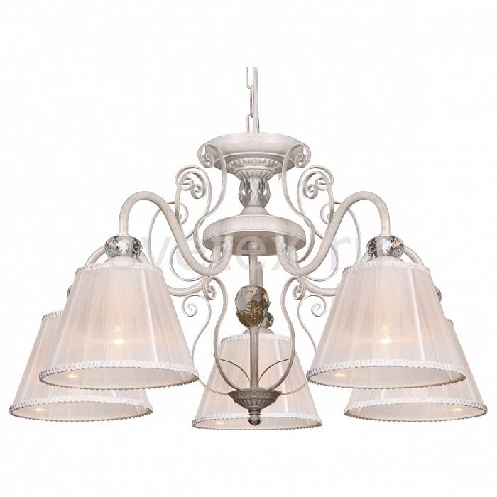 Подвесная люстра АврораСветильники<br>Артикул - AV_10155-5L,Бренд - Аврора (Россия),Коллекция - Софи,Гарантия, месяцы - 24,Высота, мм - 340-1040,Диаметр, мм - 600,Тип лампы - компактная люминесцентная [КЛЛ] ИЛИнакаливания ИЛИсветодиодная [LED],Общее кол-во ламп - 5,Напряжение питания лампы, В - 220,Максимальная мощность лампы, Вт - 40,Лампы в комплекте - отсутствуют,Цвет плафонов и подвесок - белый с каймой,Тип поверхности плафонов - матовый,Материал плафонов и подвесок - органза,Цвет арматуры - белое с золотой патиной, неокрашенный,Тип поверхности арматуры - матовый, прозрачный,Материал арматуры - металл, хрусталь,Количество плафонов - 5,Возможность подлючения диммера - можно, если установить лампу накаливания,Тип цоколя лампы - E14,Класс электробезопасности - I,Общая мощность, Вт - 200,Степень пылевлагозащиты, IP - 20,Диапазон рабочих температур - комнатная температура,Дополнительные параметры - регулируется по высоте,  способ крепления светильника к потолку – на крюке<br>