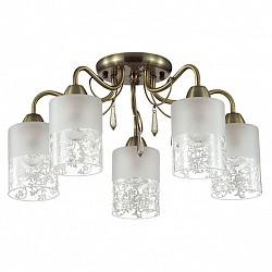 Потолочная люстра Lumion5 или 6 ламп<br>Артикул - LMN_3262_5C,Бренд - Lumion (Италия),Коллекция - Imani,Гарантия, месяцы - 24,Высота, мм - 250,Диаметр, мм - 500,Размер упаковки, мм - 270x400x170,Тип лампы - компактная люминесцентная [КЛЛ] ИЛИнакаливания ИЛИсветодиодная [LED],Общее кол-во ламп - 5,Напряжение питания лампы, В - 220,Максимальная мощность лампы, Вт - 60,Лампы в комплекте - отсутствуют,Цвет плафонов и подвесок - белый с рисунком, неокрашенный,Тип поверхности плафонов - матовый, прозрачный,Материал плафонов и подвесок - стекло, хрусталь,Цвет арматуры - бронза,Тип поверхности арматуры - матовый, металлик,Материал арматуры - металл,Возможность подлючения диммера - можно, если установить лампу накаливания,Тип цоколя лампы - E14,Класс электробезопасности - I,Общая мощность, Вт - 300,Степень пылевлагозащиты, IP - 20,Диапазон рабочих температур - комнатная температура,Дополнительные параметры - способ крепления к потолку - на монтажной пластине<br>