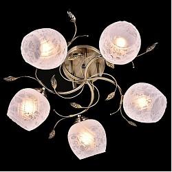 Потолочная люстра Eurosvet5 или 6 ламп<br>Артикул - EV_76595,Бренд - Eurosvet (Китай),Коллекция - Хильда,Гарантия, месяцы - 24,Высота, мм - 230,Диаметр, мм - 550,Тип лампы - компактная люминесцентная [КЛЛ] ИЛИнакаливания ИЛИсветодиодная [LED],Общее кол-во ламп - 5,Напряжение питания лампы, В - 220,Максимальная мощность лампы, Вт - 60,Лампы в комплекте - отсутствуют,Цвет плафонов и подвесок - белый с неокрашенным рисунком,Тип поверхности плафонов - матовый,Материал плафонов и подвесок - стекло,Цвет арматуры - бронза античная,Тип поверхности арматуры - матовый,Материал арматуры - металл,Возможность подлючения диммера - можно, если установить лампу накаливания,Тип цоколя лампы - E27,Класс электробезопасности - I,Общая мощность, Вт - 300,Степень пылевлагозащиты, IP - 20,Диапазон рабочих температур - комнатная температура,Дополнительные параметры - способ крепления светильника к потолку - на монтажной пластине<br>