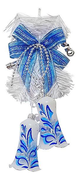 Елочная игрушка АРТИ-МЕлочные игрушки<br>Артикул - art_860-050,Бренд - АРТИ-М (Россия),Коллекция - Нежная,Высота, мм - 250,Цвет - белый, синий,Материал - стекло<br>