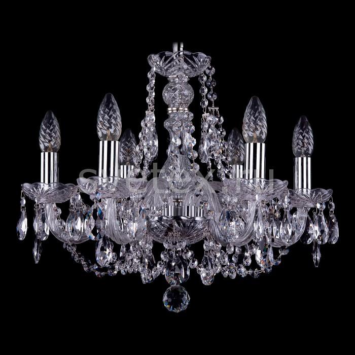 Подвесная люстра Bohemia Ivele Crystal5 или 6 ламп<br>Артикул - BI_1406_6_160_Ni,Бренд - Bohemia Ivele Crystal (Чехия),Коллекция - 1406,Гарантия, месяцы - 24,Высота, мм - 390,Диаметр, мм - 480,Размер упаковки, мм - 450x450x200,Тип лампы - компактная люминесцентная [КЛЛ] ИЛИнакаливания ИЛИсветодиодная [LED],Общее кол-во ламп - 6,Напряжение питания лампы, В - 220,Максимальная мощность лампы, Вт - 40,Лампы в комплекте - отсутствуют,Цвет плафонов и подвесок - неокрашенный,Тип поверхности плафонов - прозрачный,Материал плафонов и подвесок - хрусталь,Цвет арматуры - неокрашенный, никель,Тип поверхности арматуры - глянцевый, прозрачный, рельефный,Материал арматуры - металл, стекло,Возможность подлючения диммера - можно, если установить лампу накаливания,Форма и тип колбы - свеча ИЛИ свеча на ветру,Тип цоколя лампы - E14,Класс электробезопасности - I,Общая мощность, Вт - 240,Степень пылевлагозащиты, IP - 20,Диапазон рабочих температур - комнатная температура,Дополнительные параметры - способ крепления светильника к потолку - на крюке, указана высота светильника без подвеса<br>