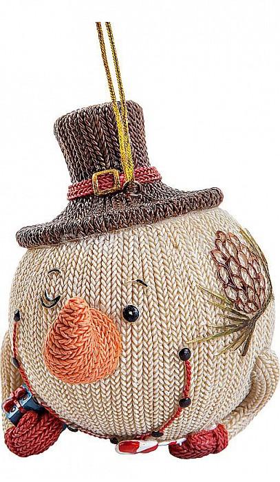 Елочный шар Mister ChristmasЕлочные игрушки<br>Артикул - MC_SM-22A,Бренд - Mister Christmas (Россия),Коллекция - SM-22,Высота, мм - 100,Высота - 10 см,Цвет - белый, коричневый,Материал - полистоун<br>