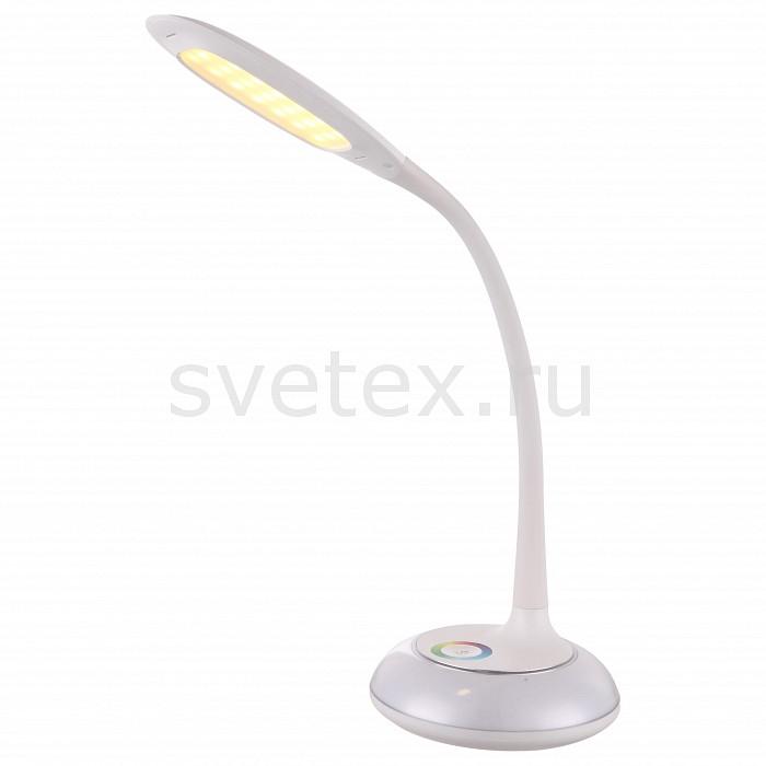 Настольная лампа GloboСветильники<br>Артикул - GB_58277,Бренд - Globo (Австрия),Коллекция - Drina,Гарантия, месяцы - 24,Высота, мм - 600,Выступ, мм - 570,Размер упаковки, мм - 225x205x280,Тип лампы - светодиодная [LED],Общее кол-во ламп - 2,Напряжение питания лампы, В - 5, 3.2,Максимальная мощность лампы, Вт - 6, 2,Цвет лампы - RGB,Лампы в комплекте - светодиодные [LED],Цвет плафонов и подвесок - белый,Тип поверхности плафонов - матовый,Материал плафонов и подвесок - акрил,Цвет арматуры - белый,Тип поверхности арматуры - матовый,Материал арматуры - акрил, металл,Количество плафонов - 1,Наличие выключателя, диммера или пульта ДУ - регулятор ЦТ,Компоненты, входящие в комплект - Трансформатор 5В, Трансформатор 3.2В, провод электропитания с вилкой без заземления,Класс электробезопасности - II,Напряжение питания, В - 220,Общая мощность, Вт - 8,Степень пылевлагозащиты, IP - 20,Диапазон рабочих температур - комнатная температура,Дополнительные параметры - поворотный светильник, доступно переключение между режимами освещения цвета RGB<br>