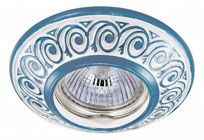 Встраиваемый светильник NovotechВстраиваемые светильники<br>Артикул - NV_370005,Бренд - Novotech (Венгрия),Коллекция - Vintage,Гарантия, месяцы - 24,Время изготовления, дней - 1,Глубина, мм - 17,Диаметр, мм - 100,Размер врезного отверстия, мм - 70,Тип лампы - галогеновая ИЛИсветодиодная [LED],Общее кол-во ламп - 1,Напряжение питания лампы, В - 12,Максимальная мощность лампы, Вт - 50,Лампы в комплекте - отсутствуют,Цвет арматуры - белый, голубой,Тип поверхности арматуры - глянцевый, рельефный,Материал арматуры - цинк,Необходимые компоненты - трансформатор 12В,Компоненты, входящие в комплект - нет,Форма и тип колбы - полусферическая с рефлектором,Тип цоколя лампы - GX5.3,Класс электробезопасности - III,Напряжение питания, В - 220,Степень пылевлагозащиты, IP - 20,Диапазон рабочих температур - комнатная температура,Дополнительные параметры - цинк с электролитным медным покрытием<br>