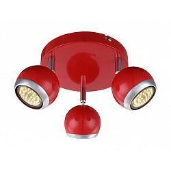 Спот GloboС 3 лампами<br>Артикул - GB_57885-3O,Бренд - Globo (Австрия),Коллекция - Oman,Гарантия, месяцы - 24,Диаметр, мм - 180,Размер упаковки, мм - 200x200x110,Тип лампы - галогеновая ИЛИсветодиодная [LED],Общее кол-во ламп - 3,Напряжение питания лампы, В - 220,Максимальная мощность лампы, Вт - 50,Лампы в комплекте - отсутствуют,Цвет плафонов и подвесок - красный с хромированной каймой,Тип поверхности плафонов - глянцевый, матовый,Материал плафонов и подвесок - металл,Цвет арматуры - красный, хром,Тип поверхности арматуры - глянцевый, матовый,Материал арматуры - металл,Возможность подлючения диммера - нельзя,Тип цоколя лампы - GU10,Класс электробезопасности - I,Степень пылевлагозащиты, IP - 20,Диапазон рабочих температур - комнатная температура,Дополнительные параметры - способ крепления светильника к потолку и стене - на монтажной пластине, поворотный светильник<br>