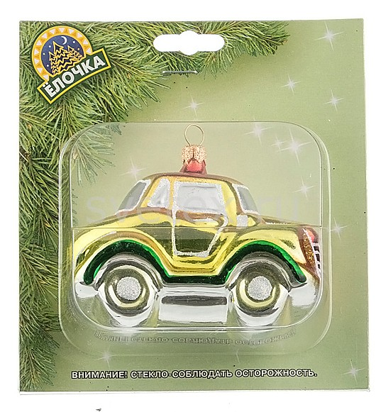Елочная игрушка АРТИ-МЕлочные игрушки<br>Артикул - art_860-348,Бренд - АРТИ-М (Россия),Коллекция - Машинка,Высота, мм - 60,Цвет - желтый, зеленый,Материал - стекло<br>