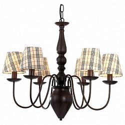 Подвесная люстра Arte LampТекстильные плафоны<br>Артикул - AR_A3090LM-6CK,Бренд - Arte Lamp (Италия),Коллекция - Scotch,Гарантия, месяцы - 24,Высота, мм - 570-1470,Диаметр, мм - 700,Тип лампы - компактная люминесцентная [КЛЛ] ИЛИнакаливания ИЛИсветодиодная [LED],Общее кол-во ламп - 6,Напряжение питания лампы, В - 220,Максимальная мощность лампы, Вт - 40,Лампы в комплекте - отсутствуют,Цвет плафонов и подвесок - разноцветный полосатый,Тип поверхности плафонов - матовый,Материал плафонов и подвесок - ткань на ПВХ-основе,Цвет арматуры - шоколад,Тип поверхности арматуры - глянцевый,Материал арматуры - металл,Возможность подлючения диммера - можно, если установить лампу накаливания,Тип цоколя лампы - E14,Класс электробезопасности - I,Общая мощность, Вт - 240,Степень пылевлагозащиты, IP - 20,Диапазон рабочих температур - комнатная температура<br>