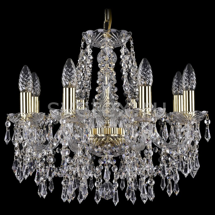 Подвесная люстра Bohemia Ivele CrystalБолее 6 ламп<br>Артикул - BI_1403_8_160_G,Бренд - Bohemia Ivele Crystal (Чехия),Коллекция - 1403,Гарантия, месяцы - 24,Высота, мм - 410,Диаметр, мм - 510,Размер упаковки, мм - 450x450x200,Тип лампы - компактная люминесцентная [КЛЛ] ИЛИнакаливания ИЛИсветодиодная [LED],Общее кол-во ламп - 8,Напряжение питания лампы, В - 220,Максимальная мощность лампы, Вт - 40,Лампы в комплекте - отсутствуют,Цвет плафонов и подвесок - неокрашенный,Тип поверхности плафонов - прозрачный,Материал плафонов и подвесок - хрусталь,Цвет арматуры - золото, неокрашенный,Тип поверхности арматуры - глянцевый, прозрачный, рельефный,Материал арматуры - металл, стекло,Возможность подлючения диммера - можно, если установить лампу накаливания,Форма и тип колбы - свеча ИЛИ свеча на ветру,Тип цоколя лампы - E14,Класс электробезопасности - I,Общая мощность, Вт - 320,Степень пылевлагозащиты, IP - 20,Диапазон рабочих температур - комнатная температура,Дополнительные параметры - способ крепления светильника к потолку - на крюке, указана высота светильника без подвеса<br>