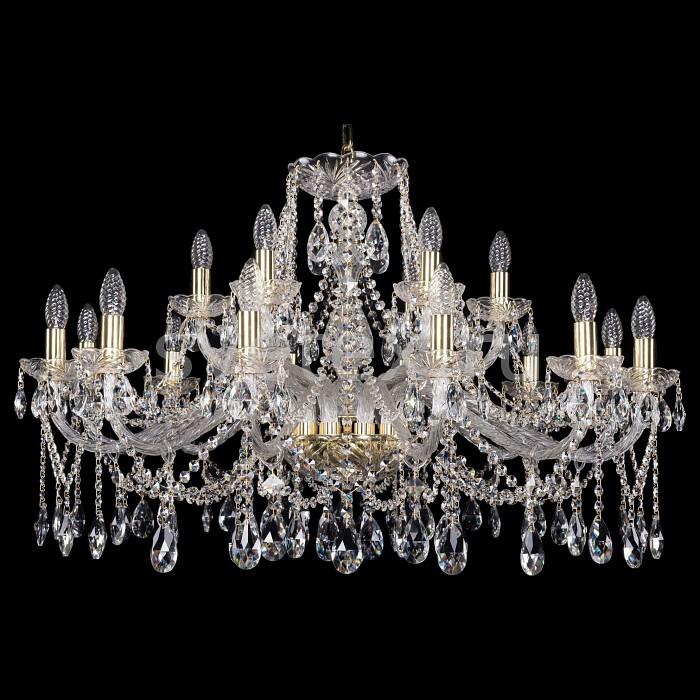 Подвесная люстра Bohemia Ivele CrystalБолее 6 ламп<br>Артикул - BI_1413_12_6_360_G,Бренд - Bohemia Ivele Crystal (Чехия),Коллекция - 1413,Гарантия, месяцы - 24,Высота, мм - 540,Диаметр, мм - 1000,Размер упаковки, мм - 710x710x350,Тип лампы - компактная люминесцентная [КЛЛ] ИЛИнакаливания ИЛИсветодиодная [LED],Общее кол-во ламп - 18,Напряжение питания лампы, В - 220,Максимальная мощность лампы, Вт - 40,Лампы в комплекте - отсутствуют,Цвет плафонов и подвесок - неокрашенный,Тип поверхности плафонов - прозрачный,Материал плафонов и подвесок - хрусталь,Цвет арматуры - золото, неокрашенный,Тип поверхности арматуры - глянцевый, прозрачный,Материал арматуры - металл, стекло,Возможность подлючения диммера - можно, если установить лампу накаливания,Форма и тип колбы - свеча ИЛИ свеча на ветру,Тип цоколя лампы - E14,Класс электробезопасности - I,Общая мощность, Вт - 720,Степень пылевлагозащиты, IP - 20,Диапазон рабочих температур - комнатная температура,Дополнительные параметры - способ крепления светильника к потолку - на крюке, указана высота светильники без подвеса<br>