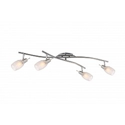 Спот GloboС 4 лампами<br>Артикул - GB_54984-4,Бренд - Globo (Австрия),Коллекция - Florita,Гарантия, месяцы - 24,Время изготовления, дней - 1,Тип лампы - компактная люминесцентная [КЛЛ] ИЛИнакаливания ИЛИсветодиодная [LED],Общее кол-во ламп - 4,Напряжение питания лампы, В - 220,Максимальная мощность лампы, Вт - 40,Лампы в комплекте - отсутствуют,Цвет плафонов и подвесок - белый с неокрашенным рисунком,Тип поверхности плафонов - матовый,Материал плафонов и подвесок - стекло,Цвет арматуры - никель, хром,Тип поверхности арматуры - глянцевый, матовый,Материал арматуры - металл,Возможность подлючения диммера - можно, если установить лампу накаливания,Форма и тип колбы - свеча,Тип цоколя лампы - E14,Класс электробезопасности - I,Общая мощность, Вт - 160,Степень пылевлагозащиты, IP - 20,Диапазон рабочих температур - комнатная температура,Дополнительные параметры - поворотный светильник<br>