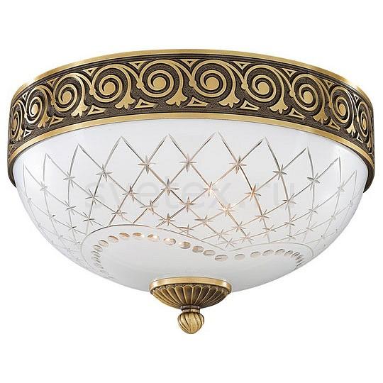Накладной светильник Reccagni AngeloКруглые<br>Артикул - RA_PL_7002_2,Бренд - Reccagni Angelo (Италия),Коллекция - 7002,Гарантия, месяцы - 24,Высота, мм - 190,Диаметр, мм - 300,Тип лампы - компактная люминесцентная [КЛЛ] ИЛИнакаливания ИЛИсветодиодная [LED],Общее кол-во ламп - 2,Напряжение питания лампы, В - 220,Максимальная мощность лампы, Вт - 60,Лампы в комплекте - отсутствуют,Цвет плафонов и подвесок - белый с рисунком,Тип поверхности плафонов - матовый,Материал плафонов и подвесок - стекло,Цвет арматуры - бронза состаренная,Тип поверхности арматуры - матовый, рельефный,Материал арматуры - латунь,Количество плафонов - 1,Возможность подлючения диммера - можно, если установить лампу накаливания,Тип цоколя лампы - E27,Класс электробезопасности - I,Общая мощность, Вт - 120,Степень пылевлагозащиты, IP - 20,Диапазон рабочих температур - комнатная температура,Дополнительные параметры - способ крепления светильника к потолку - на монтажной пластине<br>