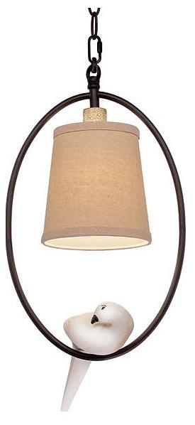 Подвесной светильник Loft itСветодиодные<br>Артикул - LF_LOFT1029A-1,Бренд - Loft it (Испания),Коллекция - 1029,Гарантия, месяцы - 24,Высота, мм - 370-1000,Диаметр, мм - 250,Тип лампы - компактная люминесцентная [КЛЛ] ИЛИнакаливания ИЛИсветодиодная [LED],Общее кол-во ламп - 1,Напряжение питания лампы, В - 220,Максимальная мощность лампы, Вт - 40,Лампы в комплекте - отсутствуют,Цвет плафонов и подвесок - бежевый,Тип поверхности плафонов - матовый,Материал плафонов и подвесок - текстиль,Цвет арматуры - белый, коричневый состаренный,Тип поверхности арматуры - матовый,Материал арматуры - акрил, металл,Количество плафонов - 1,Возможность подлючения диммера - можно, если установить лампу накаливания,Тип цоколя лампы - E14,Класс электробезопасности - I,Степень пылевлагозащиты, IP - 20,Диапазон рабочих температур - комнатная температура,Дополнительные параметры - способ крепления светильника к потолку – на крюке, регулируется по высоте, светильник декорирован птичками из акрила<br>