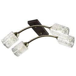 Потолочная люстра Odeon LightНе более 4 ламп<br>Артикул - OD_2941_4C,Бренд - Odeon Light (Италия),Коллекция - Nantes,Гарантия, месяцы - 24,Высота, мм - 180,Тип лампы - компактная люминесцентная [КЛЛ] ИЛИнакаливания ИЛИсветодиодная [LED],Общее кол-во ламп - 4,Напряжение питания лампы, В - 220,Максимальная мощность лампы, Вт - 60,Лампы в комплекте - отсутствуют,Цвет плафонов и подвесок - неокрашенный с рисунком,Тип поверхности плафонов - прозрачный,Материал плафонов и подвесок - стекло,Цвет арматуры - коричневый с золотым рисунком,Тип поверхности арматуры - матовый,Материал арматуры - металл,Возможность подлючения диммера - можно, если установить лампу накаливания,Тип цоколя лампы - E14,Класс электробезопасности - I,Общая мощность, Вт - 240,Степень пылевлагозащиты, IP - 20,Диапазон рабочих температур - комнатная температура,Дополнительные параметры - способ крепления светильника на потолке - на монтажной пластине<br>