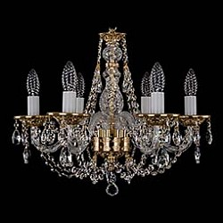 Подвесная люстра Bohemia Ivele Crystal5 или 6 ламп<br>Артикул - BI_1606_6_160_G,Бренд - Bohemia Ivele Crystal (Чехия),Коллекция - 1606,Гарантия, месяцы - 12,Высота, мм - 390,Диаметр, мм - 500,Размер упаковки, мм - 450x450x200,Тип лампы - компактная люминесцентная [КЛЛ] ИЛИнакаливания ИЛИсветодиодная [LED],Общее кол-во ламп - 6,Напряжение питания лампы, В - 220,Максимальная мощность лампы, Вт - 40,Лампы в комплекте - отсутствуют,Цвет плафонов и подвесок - неокрашенный,Тип поверхности плафонов - прозрачный,Материал плафонов и подвесок - хрусталь,Цвет арматуры - золото, неокрашенный,Тип поверхности арматуры - глянцевый, прозрачный,Материал арматуры - металл, стекло,Возможность подлючения диммера - можно, если установить лампу накаливания,Форма и тип колбы - свеча ИЛИ свеча на ветру,Тип цоколя лампы - E14,Класс электробезопасности - I,Общая мощность, Вт - 240,Степень пылевлагозащиты, IP - 20,Диапазон рабочих температур - комнатная температура,Дополнительные параметры - способ крепления светильника к потолку – на крюке<br>