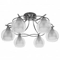 Потолочная люстра IDLamp5 или 6 ламп<br>Артикул - ID_873_6PF-Darkchrome,Бренд - IDLamp (Италия),Коллекция - 873,Гарантия, месяцы - 24,Высота, мм - 300,Диаметр, мм - 595,Тип лампы - компактная люминесцентная [КЛЛ] ИЛИнакаливания ИЛИсветодиодная [LED],Общее кол-во ламп - 6,Напряжение питания лампы, В - 220,Максимальная мощность лампы, Вт - 40,Лампы в комплекте - отсутствуют,Цвет плафонов и подвесок - белый, неокрашенный,Тип поверхности плафонов - матовый, прозрачный, рельефный,Материал плафонов и подвесок - стекло,Цвет арматуры - хром черненный,Тип поверхности арматуры - глянцевый,Материал арматуры - металл,Возможность подлючения диммера - можно, если установить лампу накаливания,Тип цоколя лампы - E27,Общая мощность, Вт - 240,Степень пылевлагозащиты, IP - 20,Диапазон рабочих температур - комнатная температура<br>
