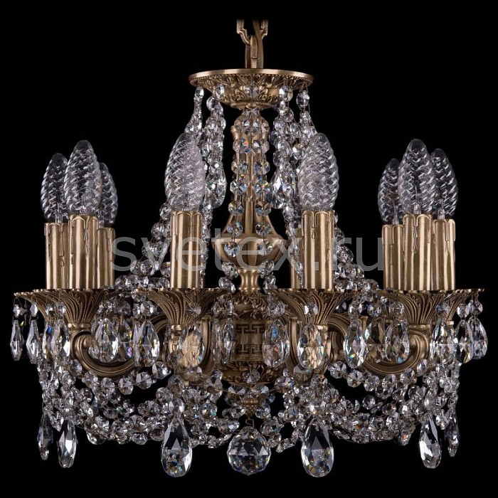 Подвесная люстра Bohemia Ivele CrystalБолее 6 ламп<br>Артикул - BI_1707_10_125_C_FP,Бренд - Bohemia Ivele Crystal (Чехия),Коллекция - 1707,Гарантия, месяцы - 24,Высота, мм - 420,Диаметр, мм - 460,Размер упаковки, мм - 450x450x200,Тип лампы - компактная люминесцентная [КЛЛ] ИЛИнакаливания ИЛИсветодиодная [LED],Общее кол-во ламп - 10,Напряжение питания лампы, В - 220,Максимальная мощность лампы, Вт - 40,Лампы в комплекте - отсутствуют,Цвет плафонов и подвесок - неокрашенный,Тип поверхности плафонов - прозрачный,Материал плафонов и подвесок - хрусталь,Цвет арматуры - золото французское с патиной,Тип поверхности арматуры - глянцевый, рельефный,Материал арматуры - латунь,Возможность подлючения диммера - можно, если установить лампу накаливания,Форма и тип колбы - свеча ИЛИ свеча на ветру,Тип цоколя лампы - E14,Класс электробезопасности - I,Общая мощность, Вт - 400,Степень пылевлагозащиты, IP - 20,Диапазон рабочих температур - комнатная температура,Дополнительные параметры - способ крепления светильника к потолку - на крюке, указана высота светильника без подвеса<br>