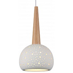 Подвесной светильник ST-LuceБарные<br>Артикул - SL288.553.01,Бренд - ST-Luce (Китай),Коллекция - SL288,Гарантия, месяцы - 24,Высота, мм - 390-1100,Диаметр, мм - 200,Размер упаковки, мм - 275х275х370,Тип лампы - компактная люминесцентная [КЛЛ] ИЛИнакаливания ИЛИсветодиодная [LED],Общее кол-во ламп - 1,Напряжение питания лампы, В - 220,Максимальная мощность лампы, Вт - 60,Лампы в комплекте - отсутствуют,Цвет плафонов и подвесок - белый,Тип поверхности плафонов - матовый, прозрачный,Материал плафонов и подвесок - керамика,Цвет арматуры - белый, бук,Тип поверхности арматуры - глянцевый, матовый,Материал арматуры - дерево, металл,Возможность подлючения диммера - можно, если установить лампу накаливания,Тип цоколя лампы - E27,Класс электробезопасности - I,Степень пылевлагозащиты, IP - 20,Диапазон рабочих температур - комнатная температура,Дополнительные параметры - регулируется по высоте,  способ крепления светильника к потолку – на монтажной пластине<br>