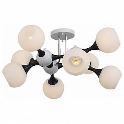 Люстра на штанге ST-LuceБолее 6 ламп<br>Артикул - SL849.542.08,Бренд - ST-Luce (Китай),Коллекция - Edificio,Гарантия, месяцы - 24,Высота, мм - 380,Размер упаковки, мм - 580x580x310,Тип лампы - компактная люминесцентная [КЛЛ] ИЛИнакаливания ИЛИсветодиодная [LED],Общее кол-во ламп - 8,Напряжение питания лампы, В - 220,Максимальная мощность лампы, Вт - 60,Лампы в комплекте - отсутствуют,Цвет плафонов и подвесок - белый,Тип поверхности плафонов - матовый,Материал плафонов и подвесок - стекло,Цвет арматуры - белый, черный,Тип поверхности арматуры - глянцевый, матовый,Материал арматуры - металл,Возможность подлючения диммера - можно, если установить лампу накаливания,Тип цоколя лампы - E27,Класс электробезопасности - I,Общая мощность, Вт - 480,Степень пылевлагозащиты, IP - 20,Диапазон рабочих температур - комнатная температура,Дополнительные параметры - способ крепления светильника к потолку - на монтажной пластине<br>