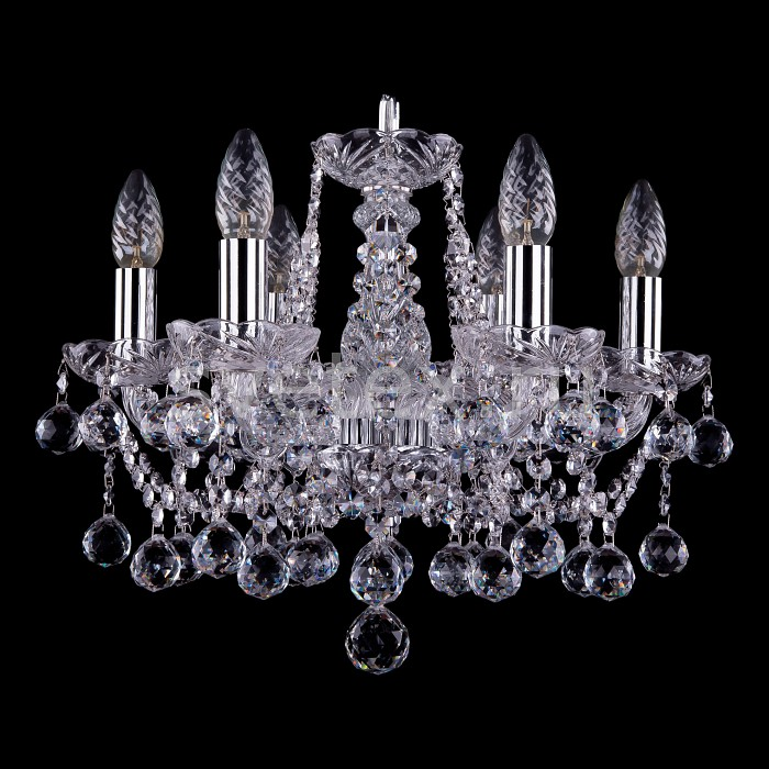 Подвесная люстра Bohemia Ivele Crystal5 или 6 ламп<br>Артикул - BI_1413_6_141_Ni_Balls,Бренд - Bohemia Ivele Crystal (Чехия),Коллекция - 1413,Гарантия, месяцы - 12,Высота, мм - 340,Диаметр, мм - 490,Размер упаковки, мм - 450x450x200,Тип лампы - компактная люминесцентная [КЛЛ] ИЛИнакаливания ИЛИсветодиодная [LED],Общее кол-во ламп - 6,Напряжение питания лампы, В - 220,Максимальная мощность лампы, Вт - 40,Лампы в комплекте - отсутствуют,Цвет плафонов и подвесок - неокрашенный,Тип поверхности плафонов - прозрачный,Материал плафонов и подвесок - хрусталь,Цвет арматуры - неокрашенный, никель,Тип поверхности арматуры - глянцевый, прозрачный,Материал арматуры - металл, стекло,Возможность подлючения диммера - можно, если установить лампу накаливания,Форма и тип колбы - свеча ИЛИ свеча на ветру,Тип цоколя лампы - E14,Класс электробезопасности - I,Общая мощность, Вт - 240,Степень пылевлагозащиты, IP - 20,Диапазон рабочих температур - комнатная температура,Дополнительные параметры - способ крепления светильника к потолку – на крюке, шарообразные подвески<br>