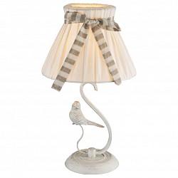 Настольная лампа GloboС абажуром<br>Артикул - GB_69027T,Бренд - Globo (Австрия),Коллекция - Savio,Гарантия, месяцы - 24,Высота, мм - 410,Диаметр, мм - 250,Размер упаковки, мм - 220х290х355,Тип лампы - компактная люминесцентная [КЛЛ] ИЛИнакаливания ИЛИсветодиодная [LED],Общее кол-во ламп - 1,Напряжение питания лампы, В - 220,Максимальная мощность лампы, Вт - 60,Лампы в комплекте - отсутствуют,Цвет плафонов и подвесок - бежевый с полосатой лентой,Тип поверхности плафонов - матовый,Материал плафонов и подвесок - ткань,Цвет арматуры - белый,Тип поверхности арматуры - матовый,Материал арматуры - металл,Тип цоколя лампы - E14,Класс электробезопасности - II,Степень пылевлагозащиты, IP - 20,Диапазон рабочих температур - комнатная температура,Дополнительные параметры - декор птички<br>